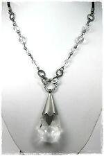 NEU 45cm+5cm HALSKETTE schwarz GLAS PERLEN kristallklar GLASSTEIN klar COLLIER