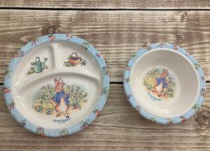 Vintage Eden Peter Rabbit Melamine Divided Dish Plate & Bowl FW & Co. Vintage