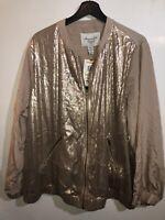NWT American Rag Beige Gold Sequin Full Zip Jacket Plus 3X