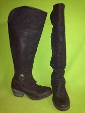 Purple Pebbled Leather DKODE Knee-High Boots with Side Vent Zipper 7.5 38