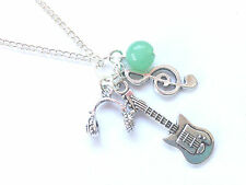 Soul Music Necklace Musician musical notes Aventurine Gemstone Guitar Headphones