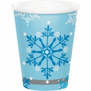 Snow Princess 8 Ct 9 oz Hot Cold Paper Cups Christmas Snowflake Swirls