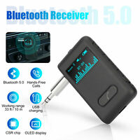 Wireless Bluetooth 5.0 Receiver Car Adapter 3.5mm AUX Audio Stereo Music A2DP