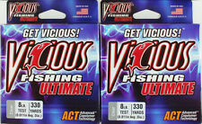 (Lot Of 2) Vicious Ultimate Fishing Line 330Yd Clear 8Lb