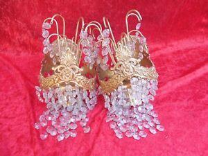 2 schöne, alte Wandlampen , Messing mit Kristall - Behang  , Lampenpaar