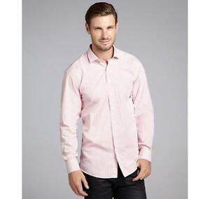 Scott James Rose & White Striped Cotton 'Dino' Dress Shirt Size X-Large NWT $115