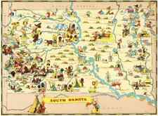 Canvas Reproduction, Vintage Pictorial Map of South Dakota Ruth Taylor 1935