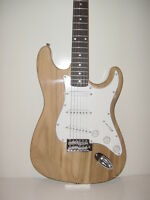 NEW Full Size  Natural 6 String S Style  Electric Guitar with Gig Bag Case