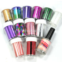 12 Colors Nail Art Transfer Foil Sticker Roll with Nail Tips Glue Adhesive Set