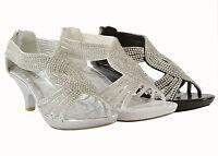 Women Sandals Kitten Heels Fashion Shinny Rhinestone Design Party Shoes