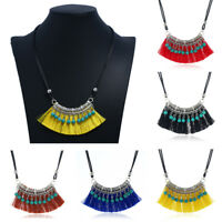 Bohemia Women Tassel Charm Pendant Necklace Bib Statement Choker Collar Chunky