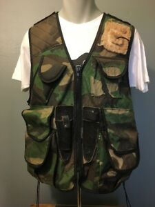 Vtg Red Head Camo Fishing Hunting Vest Mens L-XL Utility Backpack Pouch Bag Zip