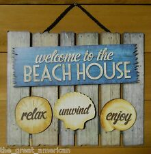3D Wood Sign WELCOME TO THE BEACH HOUSE, Relax, Unwind, Enjoy, Nautical, USA