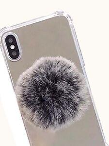 Gray fluffy Pom Pom phone mount holder