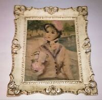 Vintage Collectible Lady Print Ornate Frame MId Century 1950's 1960's
