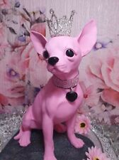 More details for chihuahua statue, large sitting pose in baby pink, special limited edition