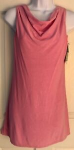GK ICE FIGURE SKATE LADIES SMALL PINK CREPE SLVLS COWL NECK A-LINE DRESS Sz AS