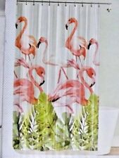 Tropical Pink Flamingo Garden Vinyl Bath Shower Curtain Eco-Friendly PEVA Birds