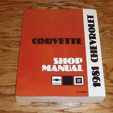 1981 Chevrolet Corvette Service Shop Manual 81 Chevy