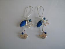 Boucles d'Oreilles Original Bleu Marine/Argent/Argenté Etoile Oiseau pas cher