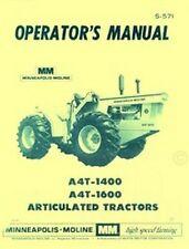 Minneapolis Moline A4t 1400 A4t 1600 Operators Manual