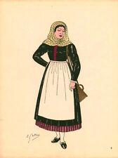 Gravure d'Emile Gallois costume des provinces françaises 1950 Artois