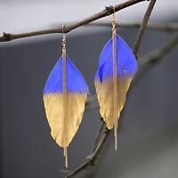 Fashion Women's Multicolor Feather Drop Long Chain Dangle Hook Earrings Jewelry