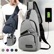 Men's Shoulder Bag Sling Chest Pack Canvas USB Charging Sports Crossbody Purse
