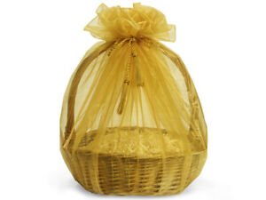 "3 Sheer Gold Organza Gift Basket Wrap 48"" Tassel Ties Christmas Holiday Weddings"