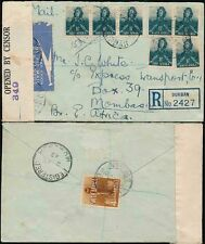 SOUTH AFRICA to KENYA CENSORED REGISTERED 1942 AIRMAIL MULTI FRANKING