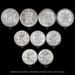 NETHERLANDS ANTILLES COIN LOT MIXED DATE/ 2½ GULDEN (9 SILVER COINS) ALL SILVER