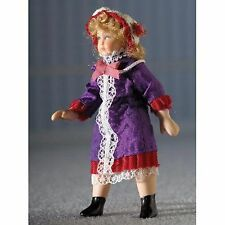 "DOLLS HOUSE DOLL 1/12th SCALE VICTORIAN""  GIRL  IN  PURPLE  DRESS"
