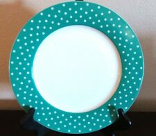 Isaac Mizrahi Dot Luxe Turquoise Dinner Plates x1 White Turquoise Rim Dots