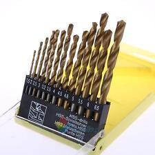 13Pcs HSS High Speed Gold Steel Twist Drill Metal Bit Set For Rotary Tool New