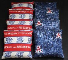 8 Cornhole Bean Bags made w Arizona Wildcats fabric Baggo Toss Game Top Quality