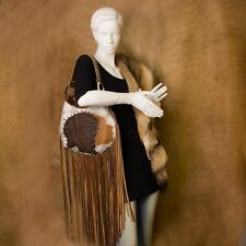 Raviani New Leather Hobo Indian Head Long Fringe Bag W/Brindle & Brown Leather