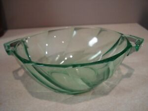 Depression Heisey Glass Green Moonglow Twist 2 Handled Nut/Candy Dish