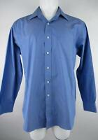 Brooks Brothers 346 Men's 16 1/2 4-5 Blue Cotton Regular Fit Button-Front Shirt