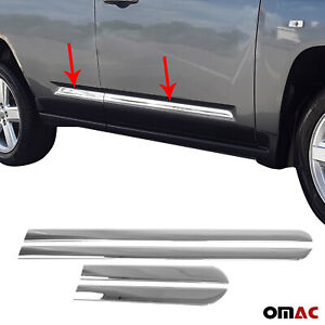 Chrome Side Door Streamer Guard S. Steel 4 Pcs for Jeep Compass 2011-2016