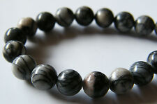 50pcs 8mm Round Natural Gemstone Beads - Black Silk Stone (Onyx)