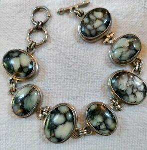 """Vintage Sarda Sterling Silver Zebra Jasper Toggle Bracelet 8"""" ~~51 Grams"""