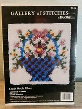 """Gallery of Stitches By Bucilla Latch Hook Pillow """"Basket Of Flowers"""" 15014"""