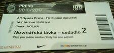 PRESS TICKET UEFA CL 2016/17 Sparta Prag - Steaua Bukarest
