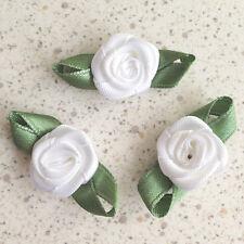 50 Satin Ribbon Rose Flower W/ Leaf 36mm Sew Trim Wedding Favor Bow Craft White