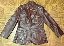 Vintage~Etienne Aigner~Burgundy/Oxblood~Fitted~Leather Coat/Jacket~Women Sz 12 P