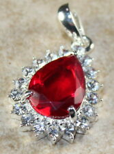 SILVER Elegant Red Topaz & Crystal Teardrop Pendant