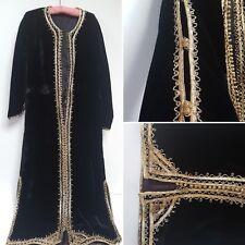 VINTAGE BLACK VELVET DRESS COAT W/ GOLD EMBROIDERY STEAMPUNK GOTH LARGE 14 16