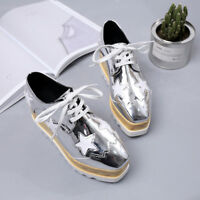 Leather Oxfords Women's Creepers Wedge Sneakers Lace Casual Shoes Star Platform