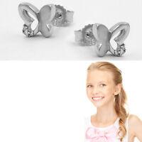 Etui 925 Echt Silber Damen Kinder Ohrringe Behang Schmetterling 4 Zirkonia weiß