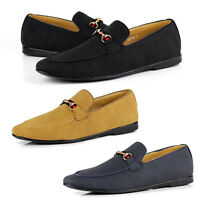Mens Slip On Loafers Smart Faux Suede Casual Designer Driving Shoes UK Size